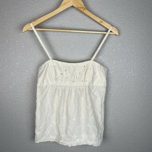 American Eagle Camisole Top 4 White Eyelet Cotton